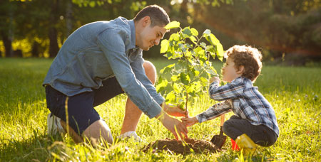 A man and a child planting a tree.